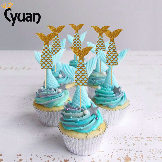 Cyuan Glitter Mermaid Cupcake Topper DIY Wedding Cake Decorations 1st Birthday Party Baby Shower Girl Decor
