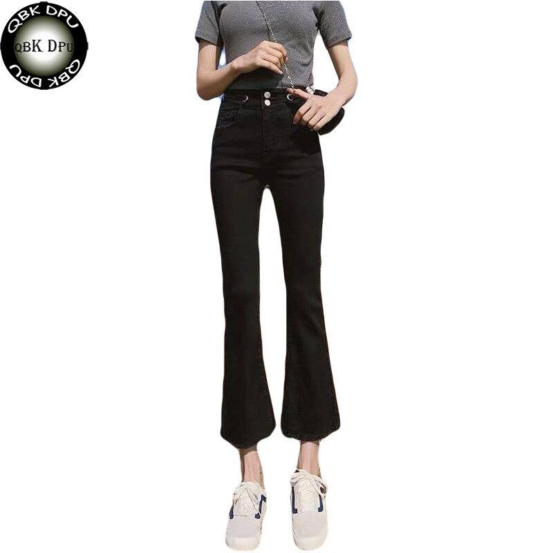 Autumn Harajuku Bottom Skinny High Waist Ladies Jeans Push Up Black Slim Elastic Denim Wide Leg Flare Pants Black Femme Jeans