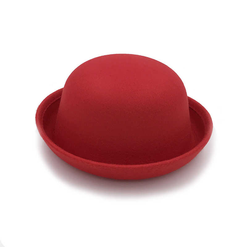 Retail Little girls fedora hat Dome cap Children dress hats Kids caps felt hats wool felting Bowler hat