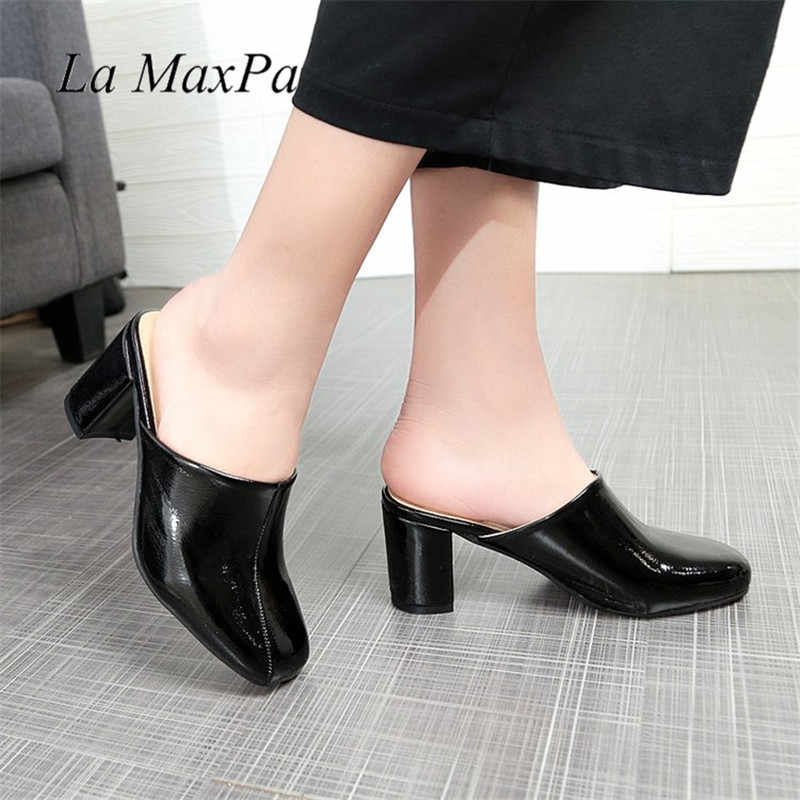 ae0884078b3d ... Women s Summer Casual Red Sole Sexy Style Ladies Shoes 2018 Fashion  Closed Toe Chunky Thick Heel