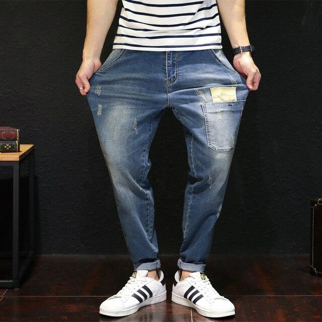 SHABIQI New Brand Men's Jeans Harlan Elastic Waist Stretch Jeans Fashion Loose Large Size Jeans Men Plus Size 38 40 42 44 46 48