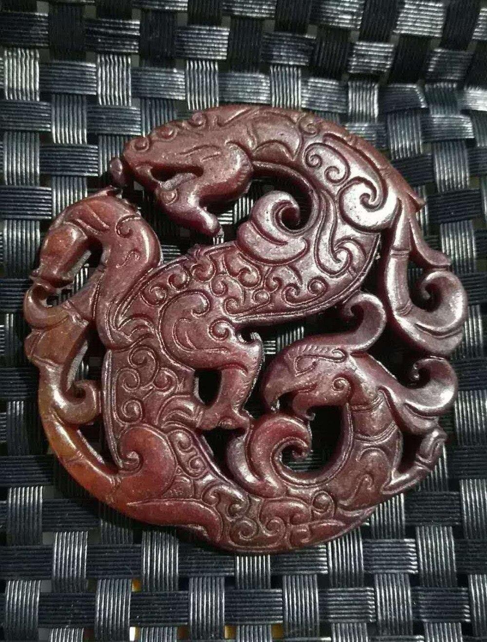 Vente antique jade antique jade ajouré pendentifs décoration éléphant marque