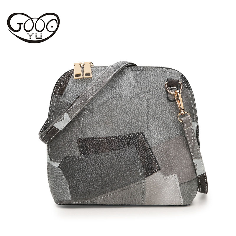 все цены на Stitching shells new female bags in Europe and America fashion shoulder diagonal package PU leather fashion phone bag