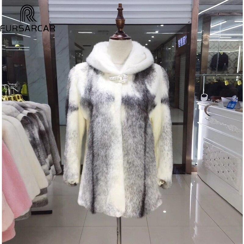 Épaisse Peau Toute En Capot Fursarcar Mode D'hiver Fourrure Hiver Natrual La Véritable Réel Avec Veste Femelle Cuir Vison Femmes De w0PxzqU0O