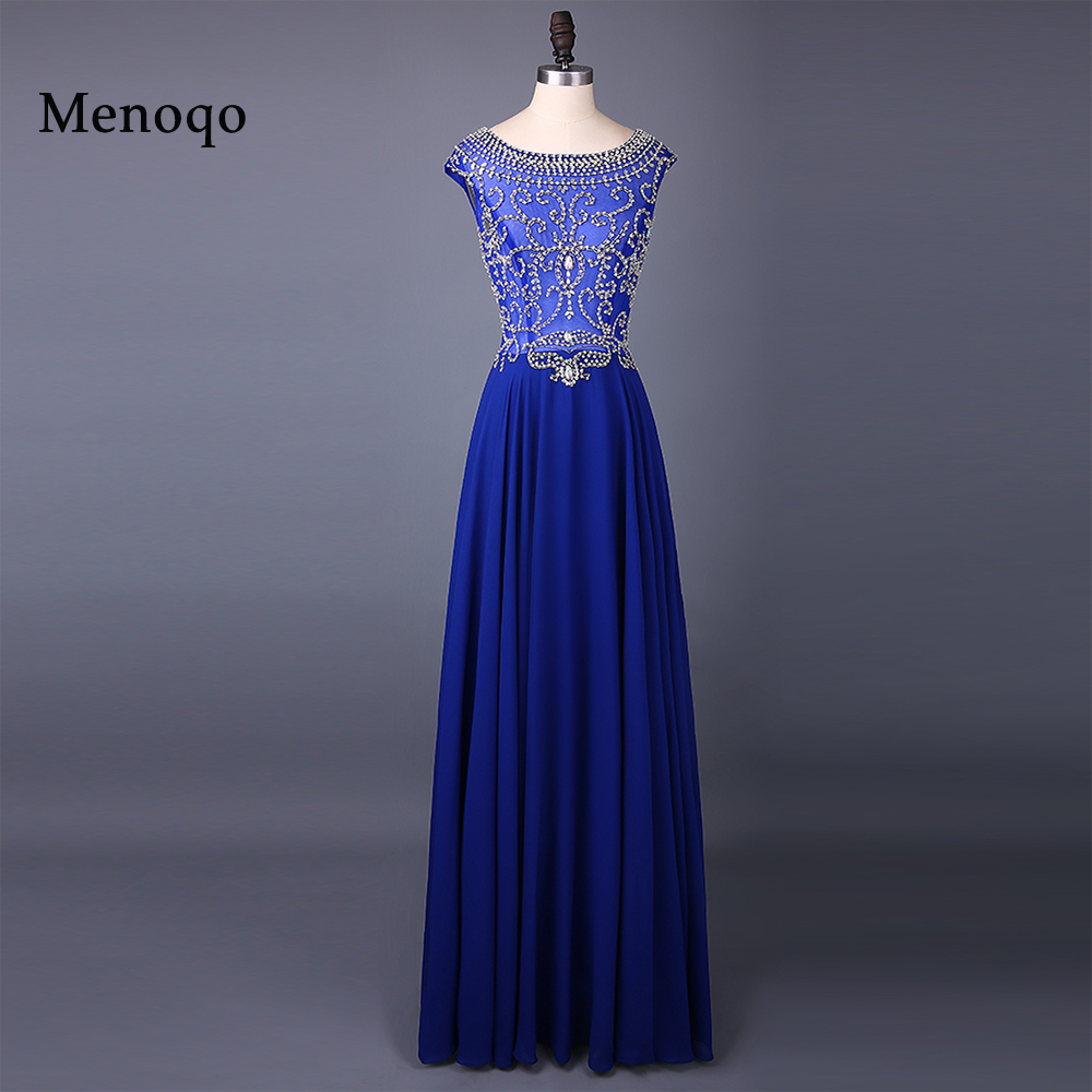 Sexy Boat Neck Luxury Crystal Beaded Chiffon A Line Evening Dresses Cap Sleeve Women Formal Long
