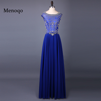 Sexy Boat Neck Luxury Crystal Beaded Chiffon A Line Evening Dresses  Cap Sleeve Women Formal Long vestido de festa 1193W