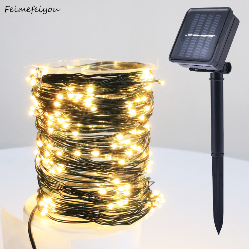 Solar PVC Cord Copper Wire String Light,Garden Decoration Outdoor Waterproof String Christmas Lamp Wedding Party Decoration