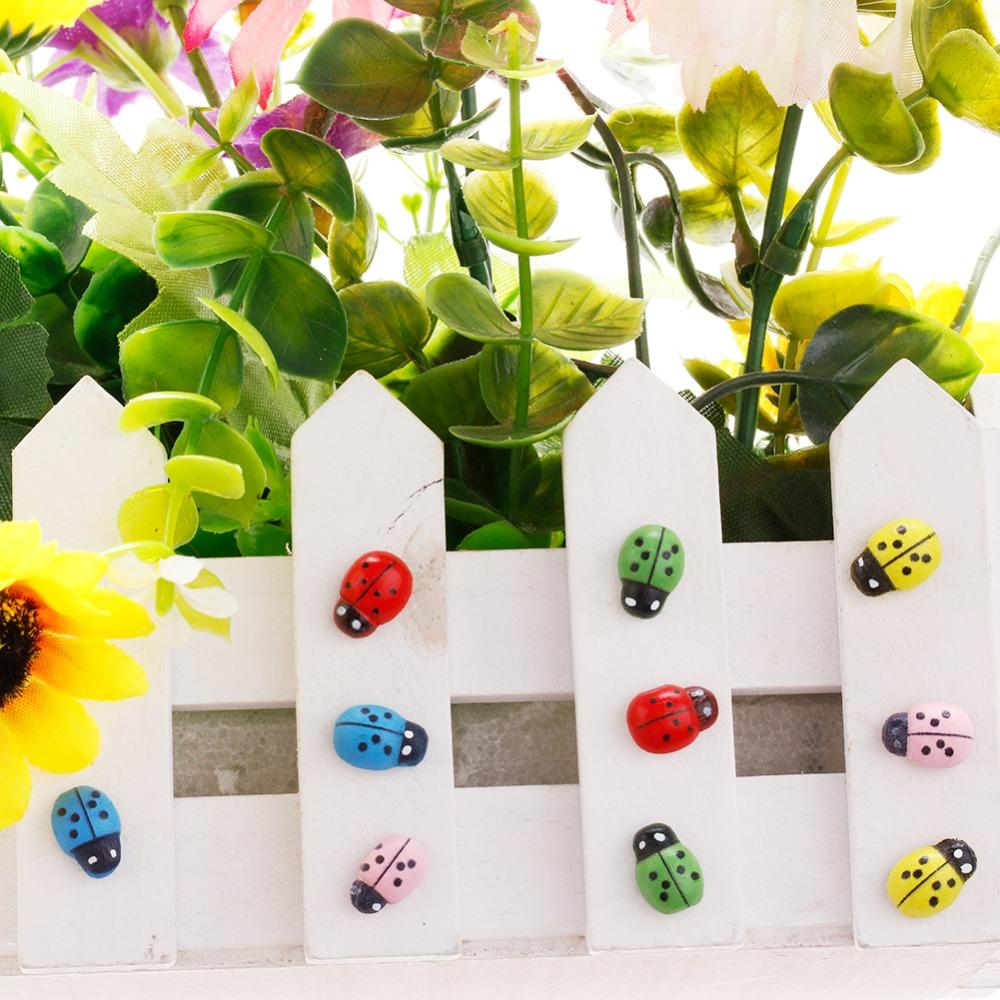 Hot Lovely Mini Artificial Ladybird Garden Ornament Dollhouse Decor DIY Supplies