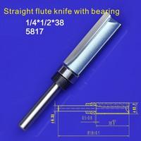 1pc 1 4 1 2 38 Trimming Cutters With Bearing Furniture Carving Milling Cutter Wood Working