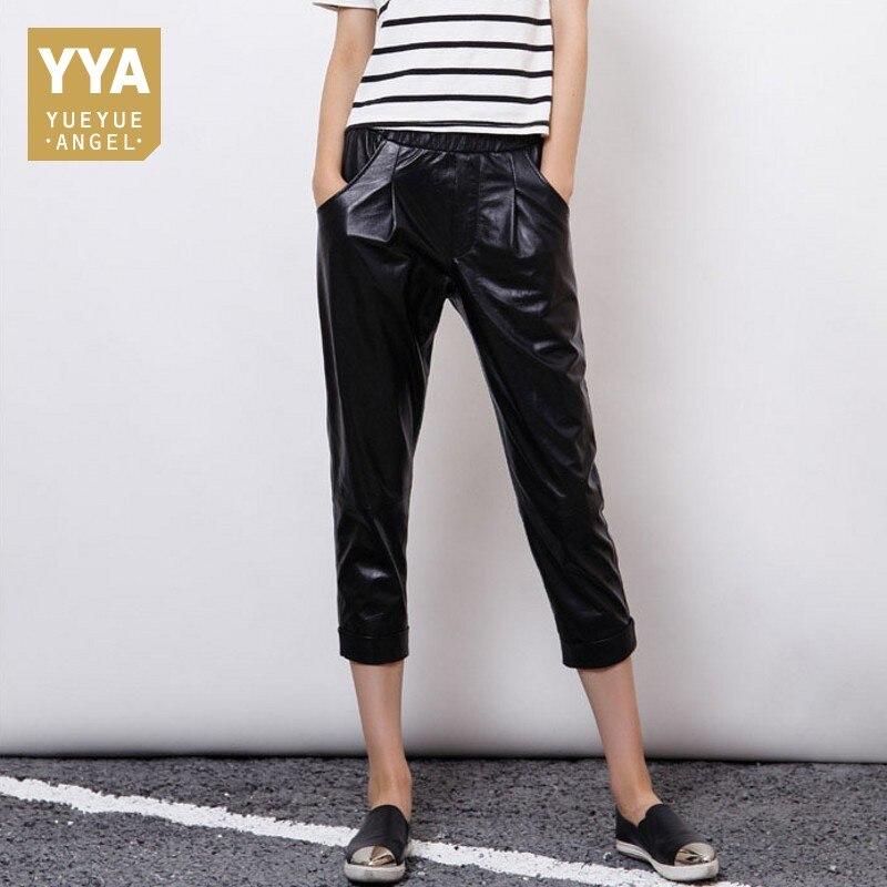 2019 новые дизайнерские Для женщин Повседневное бойфренда шаровары из натуральной кожи уличные брюки женские эластичная талия ботильоны Дли