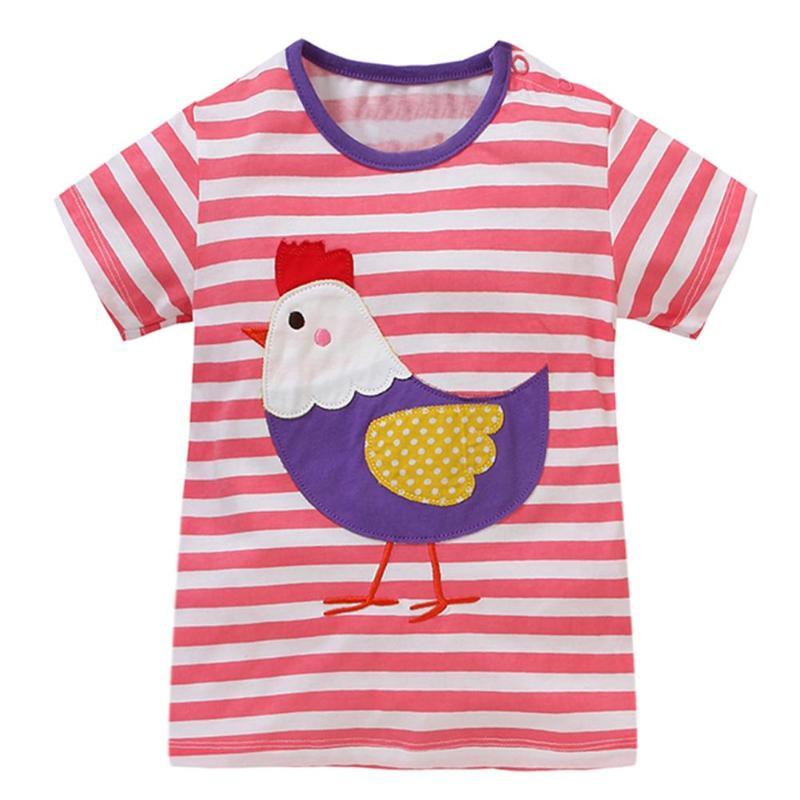 Boys Girls T-shirt Unisex Baby Tees Tops Summer Infant T-shirts Cartoon Print Kid Child Tee Shirt O-Neck Children Sports Clothes