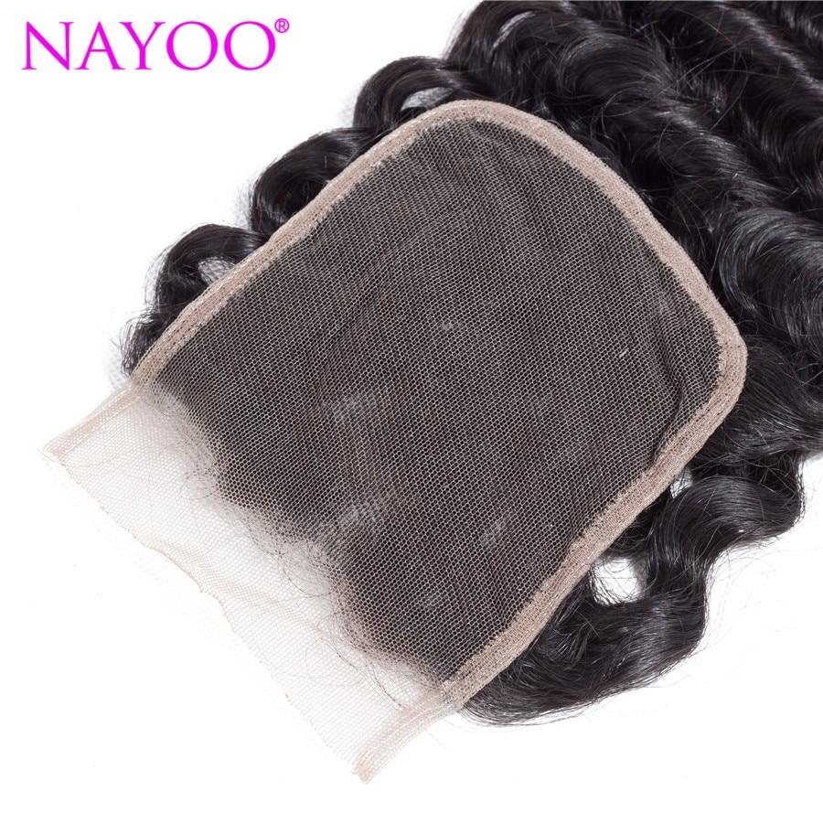 NAYOO Malaysian Deep Wave Remy Hair 4x4 Lace Closure 100% Human Hair Free Part Closure Natural Color 6-28 inch