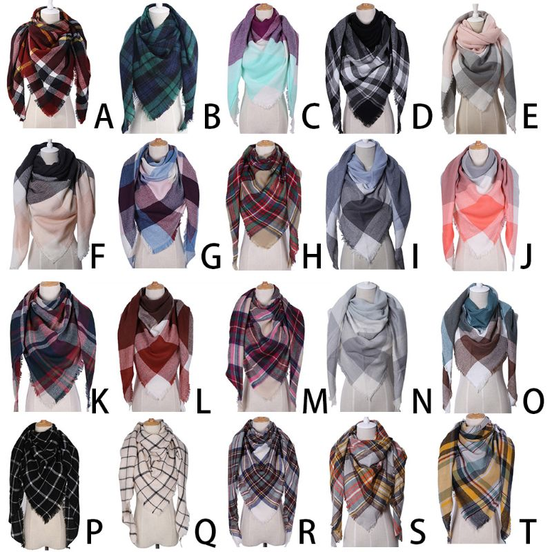 Women Winter Warm Triangles   Scarf   Vintage Plaid Lattice Printed Large Long Shawl   Wraps   Cashmere Feel Knitted Blanket With Tassel