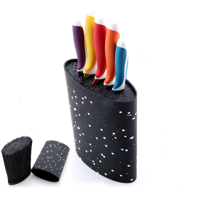 Kitchen Knife Stand Tool Holder New Oval Plastic Free Inserting Knife Block Multifunctional Supplies For Kitchen Knives