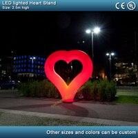 2,5 м светодио дный светодиодное освещение Надувное сердце стенд День Святого Валентина Свадебная вечерние украшение Надувное сердце шар ст