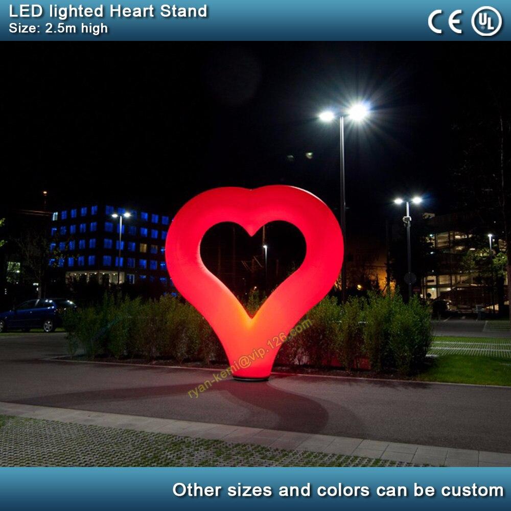 2,5 m LED iluminación inflable corazón soporte Día de San Valentín boda fiesta decoración inflable corazón globo pilar con soplador