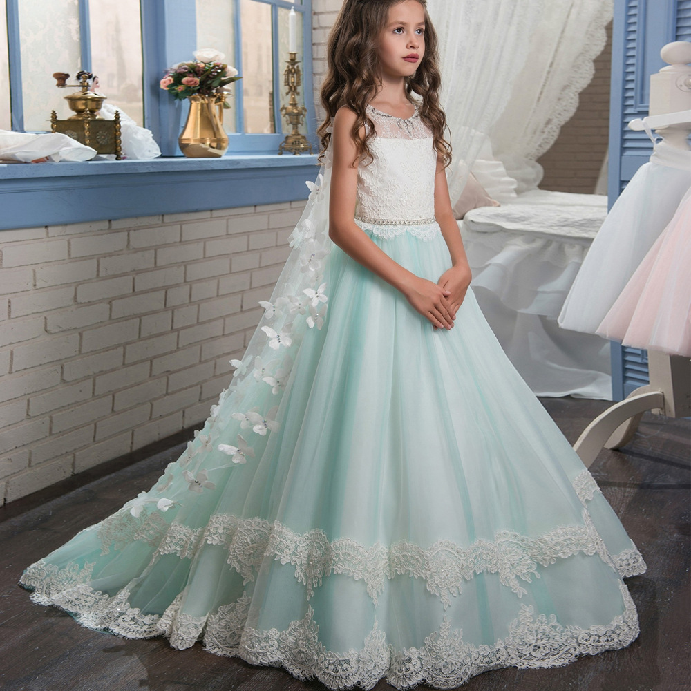 Mint Lace Long   Flower     Girl     Dresses   For Wedding Crystal Beading With Cloak   Girls   First Communion Gowns Special Occasion   Dresses