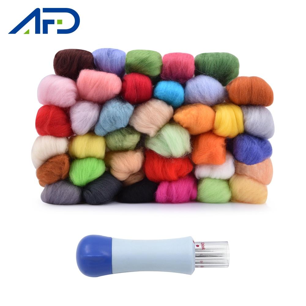 50 Colors Roving Wool Felt Fabric Kit Handle 7PCS Felting Needle Set For Christmas Ball Toys Making DIY Felting Wool Crafts