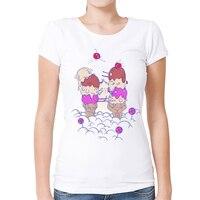 Funny Creative Ice Cream Chicken Fight T Shirt Women Cartoon Custom Printed T Shirt High Quality
