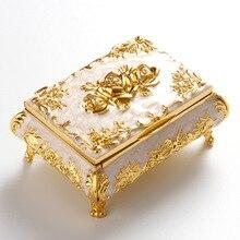 Чехол для украшений шкатулка металлическая коробка для безделушек цветок резное кольцо серьги подвеска для хранения дисплей подарочная коробка Ювелирная упаковка