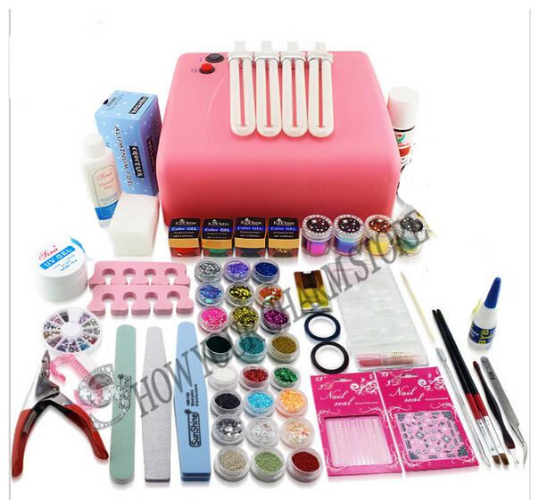 36W UV Lamp New Pro UV GEL Nail Art Tools polish Set Kit Free Shipping em 128 free shipping uv gel nail polish set nail tools professional set uv gel color with uv led lamp set nail art tools