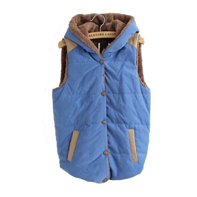 Women fight women plus leather hooded cotton vest fleece Thermal Jacket Women