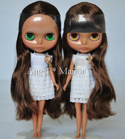 Free shipping Nude Blyth Doll, Coffee hair,Dark skin, big eye doll,Fashion doll Suitable For DIY Change BJD , For Girl's Gift free shipping nude blyth doll brown gold hair big eye doll fashion doll suitable for diy change bjd for girl s gift