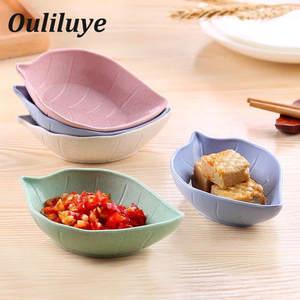 1pcs Wheat Multipurpose Seasoning Bowl Leaf Heart Shape Seasoning Bowl Small Plates Snack Dish Sauce Easy To Clean Kitchen Tools