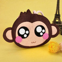 2018 Lovely Female Monkey Keys Holder Women Coin Purse Coin Wallet Make Of Felt Handmade Needle Craft Felt DIY Material Package(China)