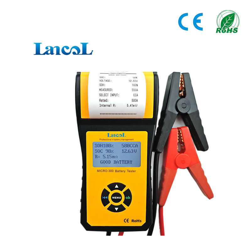 цена на Proffessional diagnostic tool Motor Truck Car 12v cca battery tester Analyzer Printer MICRO-300 for Agm Gel Flooded batteries
