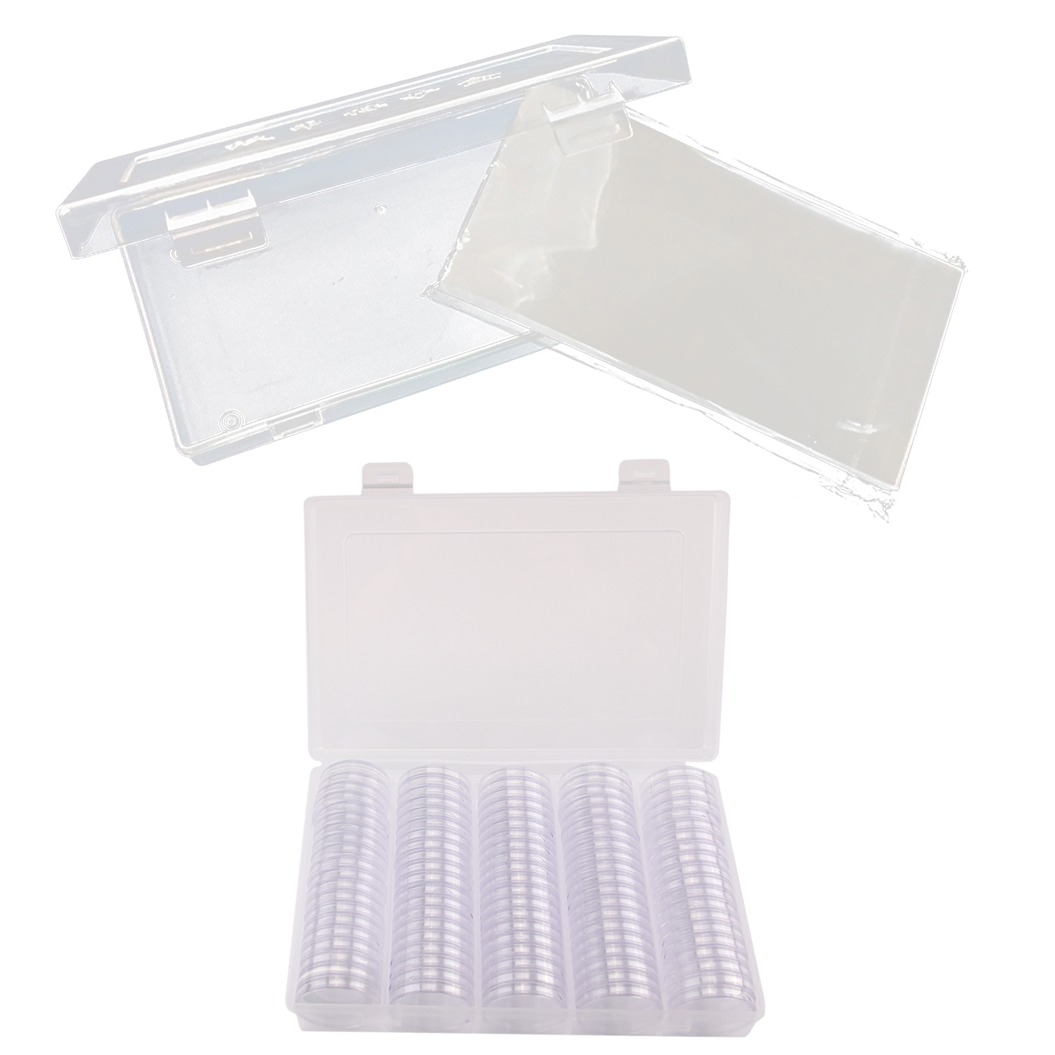 100PCS Banknote Currency Bags With Box + 100PCS 30mm Coin Holder Cases With Box For Collector Collection Supplies