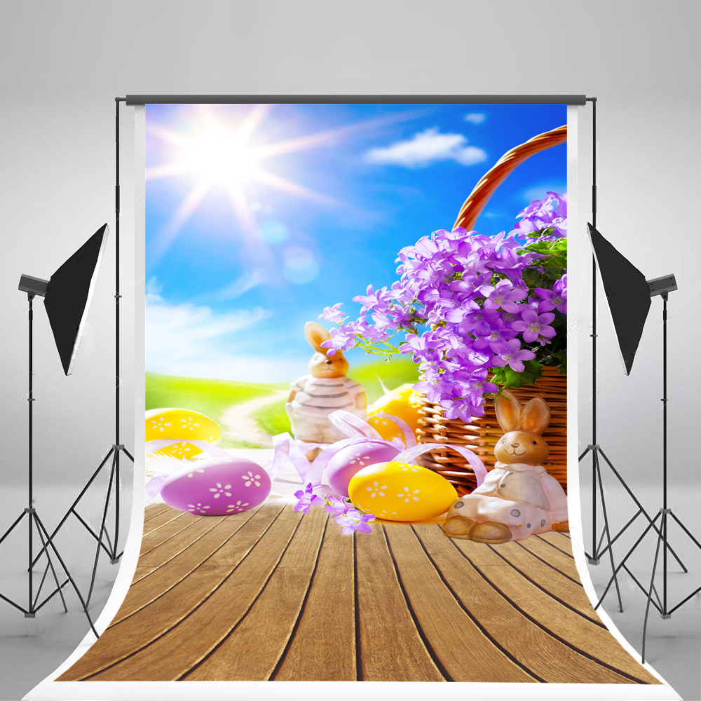 Kate Easter rabbit Flower Baskets Photographic Background Wooden Photography Studio Backgrounds Eggs Children Photo Backdrops