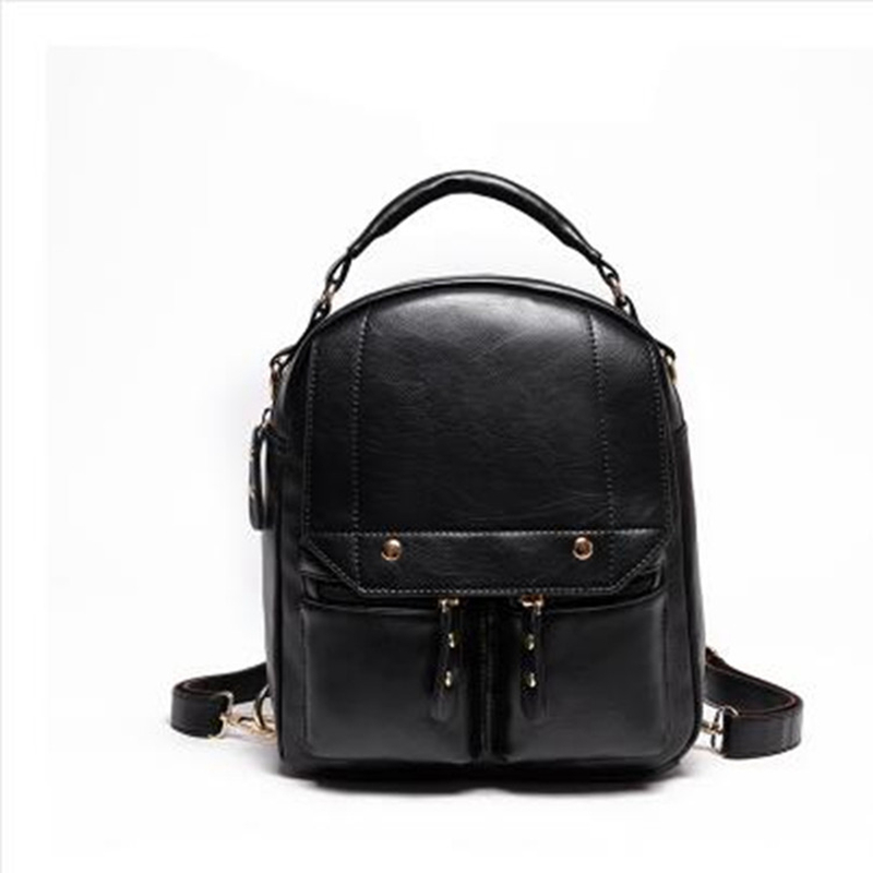 PASTE Brand Women Bag Preppy Backpack Leather Student Zipper Bags Solid Pendants Preppy Sac Casual Backpacks