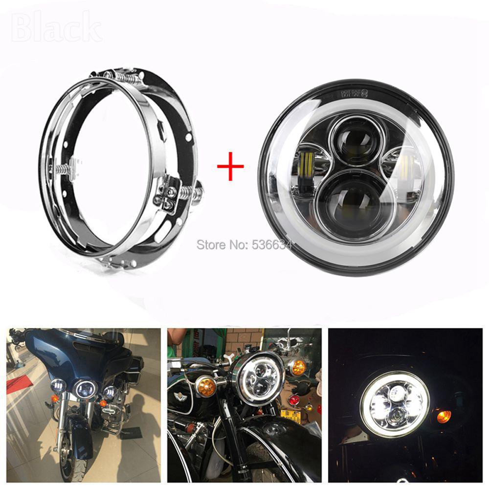 7Inch LED Round Projector Daymaker Headlight Hi/Low Halo DRL+LED Headlight Mounting Bracket Ring For Electra Glide Ultra Limited 7inch led projector daymaker headlight hi low beam led headlight mounting bracket ring for electra glide ultra classic efi
