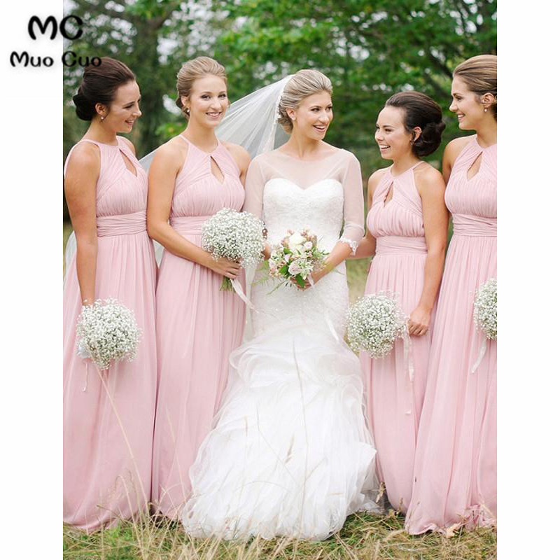 2018 Baby Pink Off Shoulder Bridesmaid Dresses Long Wedding Party Dress Pleat Chiffon Halter Women