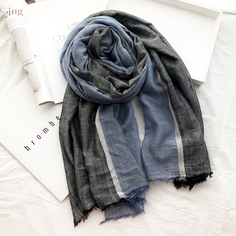 Winter Scarf Cotton Shawl Soft Blue-Striped Fashion Long Men Splice-Color Unisex-Style