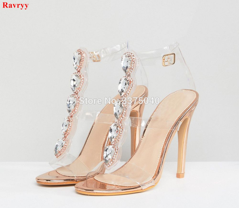 6fc6766811a Ravryy Sexy high heeled peep toe buckle strap diamond sandals women summer Transparent  PVC Crystal women s shoes-in High Heels from Shoes on Aliexpress.com ...