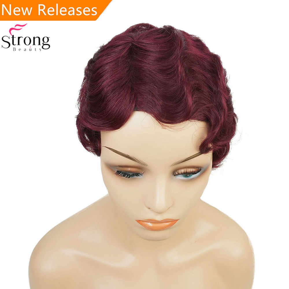 Wine red/Black African Short Finger Waves Hairstyles Human Hair Wig Flapper  Hairstyle Wig For Black Women