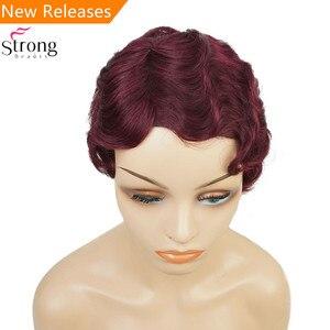 Image 1 - Şarap kırmızı/Siyah Afrika Kısa Parmak Dalga Saç İnsan saçı peruk Sineklik Saç Peruk Siyah Kadınlar Için