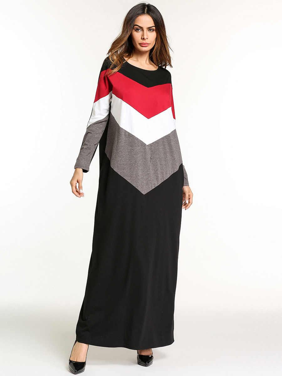 ae5d2e954d2f8 Casual Muslim Abaya Stripe Maxi Dress Kimono Long Robe Gowns Loose Style  Plus Size Jubah Ramadan Middle East Islamic Clothing