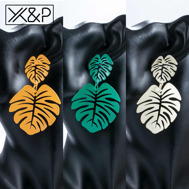 X&P Statement Leaf Drop Earrings for Women Bohemian Fashion Trend Summer Beach Long Metal Dangle Earrings Girl Large Jewelry