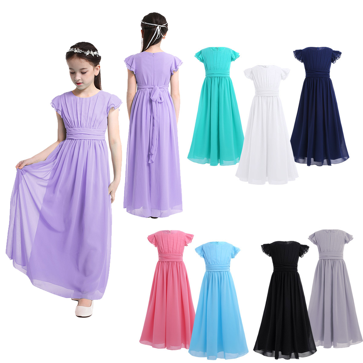 Image 2 - iiniim Girls Flower Tutu Dress Flutter Sleeves Princess Dresses Bridesmaid Summer Birthday Party Dress Childrens Clothinggirls christmas dressgirl christmasbirthday party dress -