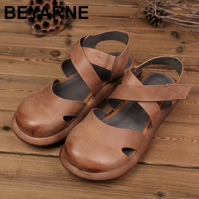 BEYARNEMori Girl Style Women s Flats Shoes Closed Toe Genuine Leather Hand MadePlatform Shoes Woman RoundToe