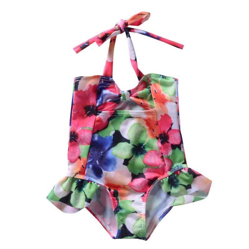 Summer Girls Baby One-Piece Swimwear Floral Print Romper Lacing Swimsuit(China)