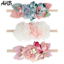 купить AHB Hair Accessories Artificial Flowers Nylon Headband for Baby Girls Newborn Hair Band Photography Props Elastic Head Band дешево