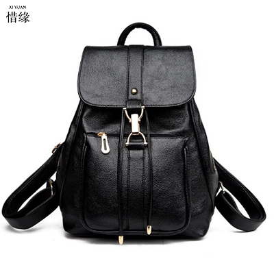 2017 Solid High Quality PU Leather blue Backpack Women Designer School Bags For Teenagers Girls Luxury Women black Backpacks red new arrival vintage men pu leather backpacks large capacity zipper solid backpack for teenagers high quality black shoulder bags