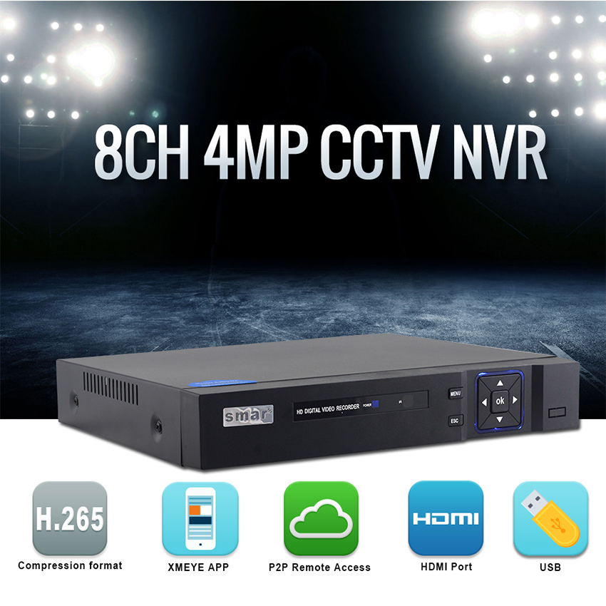 Smar Newest H.265 4MP 8CH CCTV NVR Hi3536D Main Processor 4CH 5MP Network Video Recorder ONVIF XMEYE P2P Email Alarm