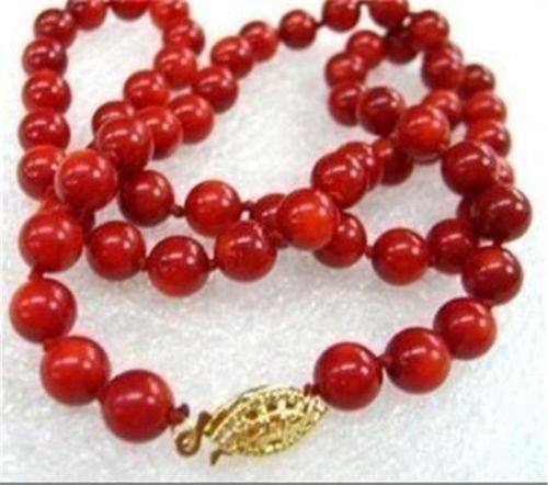 """ENVÍO LIBRE >>>@@ venta Caliente nuevo Estilo>>>>> Impresionante! LARGO 32 """"6-7mm Natural Japón Granos Redondos del Coral Rojo Collar AAA Grado"""