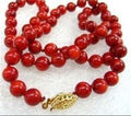 "FREE SHIPPING>>>@@ Hot sale new Style >>>>>Stunning! LONG 32"" 6-7mm Natural Japan Red Coral Round Beads Necklace AAA Grade"
