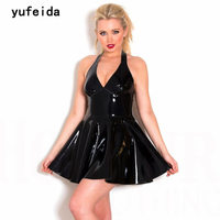 YUFEIDA Women New Arrival Faux Leather Dress Red Black Shiny Latex Exotic Dress Backless Party Tight Bodycon Dress Clubwear